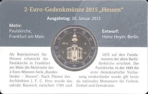 Eurondo 2 Euro Deutschland 2015 Hessen Paulskirche Frankfurt D